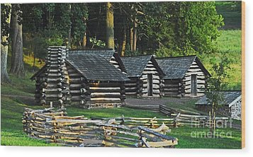 Soldiers Quarters At Valley Forge Wood Print by Cindy Manero
