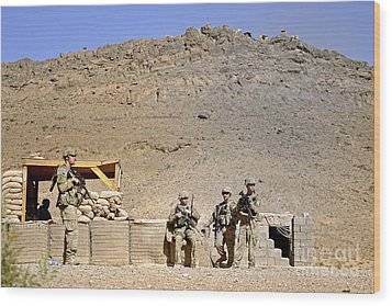 Soldiers Wait For Afghan National Wood Print by Stocktrek Images