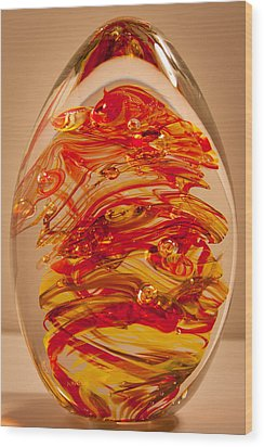 Solid Glass Sculpture Ef Fire Wood Print by David Patterson
