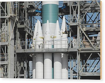 Solid Rocket Boosters Are Attached Wood Print by Stocktrek Images