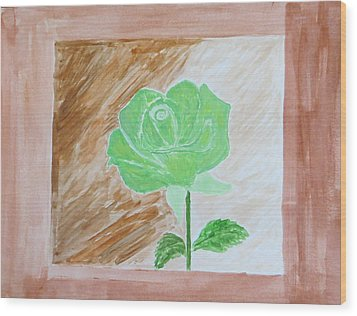 Wood Print featuring the painting Solitary Rose by Sonali Gangane