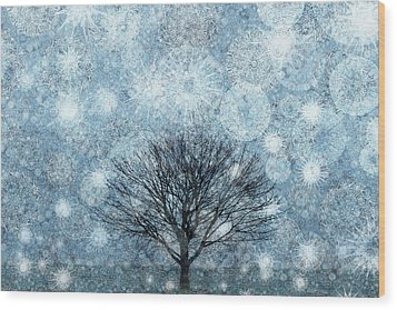 Solitary Winter Tree Caught In A Snow Storm Wood Print by Andrew Bret Wallis