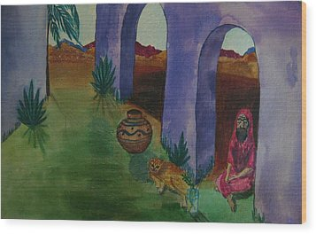Solitude In The Desert Wood Print by Judy Via-Wolff