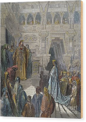 Solomon Receiving Sheba Wood Print by Granger