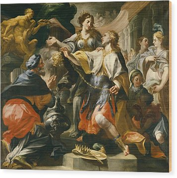 Solomon Worshiping The Pagan Gods Wood Print by Domenico Antonio Vaccaro