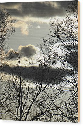 Some Rather Serious Looking Clouds Wood Print by Brenda Conrad