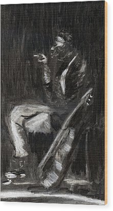 Wood Print featuring the drawing Son House In Charcoal by Denny Morreale