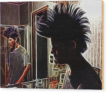 Son With Mohawk Wood Print by Lisa Stanley