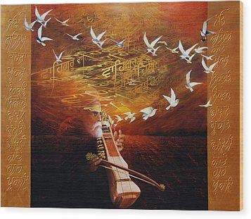 Song Of The Sunset Wood Print by S Jaswant