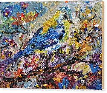 Songbird Blue In A Tree Wood Print by Ginette Callaway