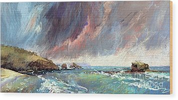 Sorrento Storm Wood Print by Pamela Pretty