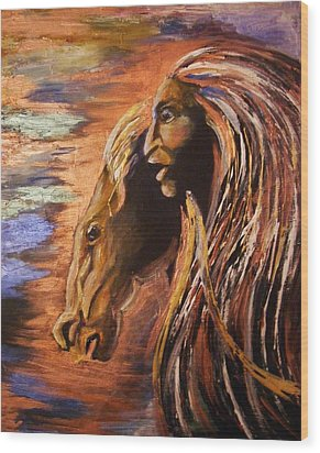 Wood Print featuring the painting Soul Of Wild Horse by Karen  Ferrand Carroll