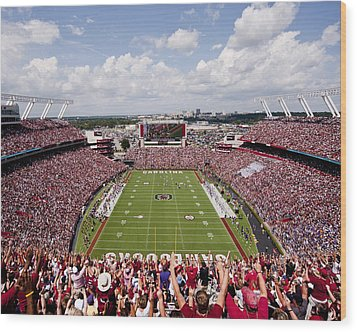 South Carolina View From The Endzone At Williams Brice Stadium Wood Print by Replay Photos