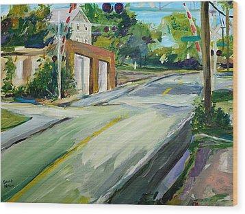South Main Street Train Crossing Wood Print by Scott Nelson