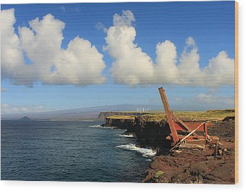 Wood Print featuring the photograph South Point Hawaii Boat Hoist by Scott Rackers