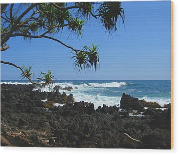 South Shore Of Maui Wood Print by Connie Fox