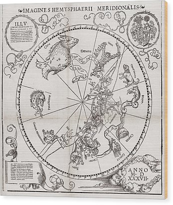 Southern Hemisphere Star Chart, 1537 Wood Print by Middle Temple Library