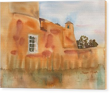 Wood Print featuring the painting Southwest Walled Monastery by Sharon Mick