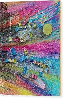 Space Junk Wood Print by David Raderstorf