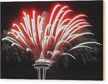 Space Needle Fireworks Wood Print by Benjamin Yeager
