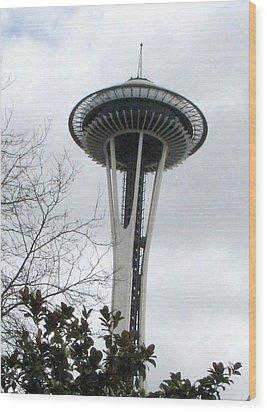 Space Needle In Seattle Wood Print by Judyann Matthews