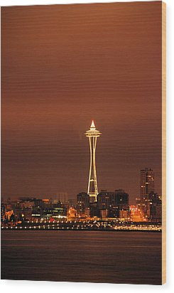 Space Needle Morning Wood Print