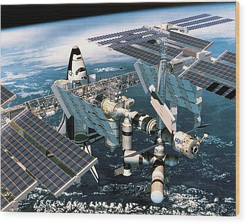 Space Shuttle Docked At The Space Station In Outer Space Wood Print by Stockbyte