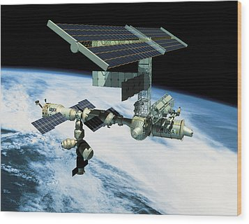 Space Station In Orbit Wood Print by Stockbyte