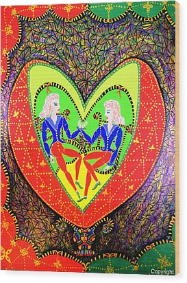 Space Twin Brothers Wood Print by Marie Schwarzer