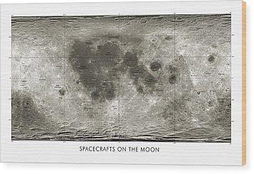 Spacecraft On The Moon, Lunar Map Wood Print by Detlev Van Ravenswaay