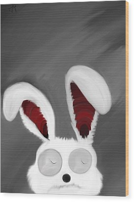 Spaced Bunny Wood Print by Andre Carrion