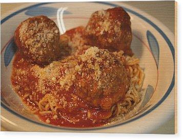 Spaghetti And Meatballs Wood Print by Anne Babineau