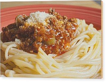 Spaghetti Bolognese Dish Wood Print by Andre Babiak