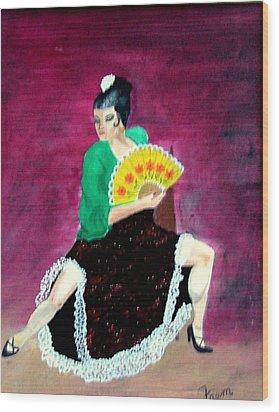 Spanish Dancer Wood Print by Fram Cama