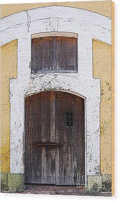 Spanish Fort Door Castillo San Felipe Del Morro San Juan Puerto Rico Prints Poster Edges Wood Print by Shawn O'Brien