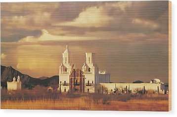 Spanish Mission Wood Print by Walter Colvin