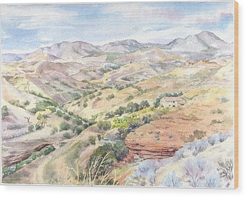 Spanish Sierra Wood Print by Maureen Carter