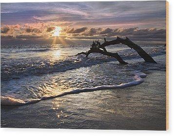 Sparkly Water At Driftwood Beach Wood Print by Debra and Dave Vanderlaan