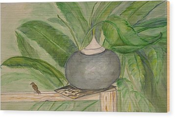 Sparrow And Ginger Wood Print by Marian Hebert