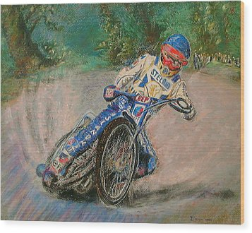 Speedway Rider Edinburgh Monarchs Wood Print by Richard James Digance