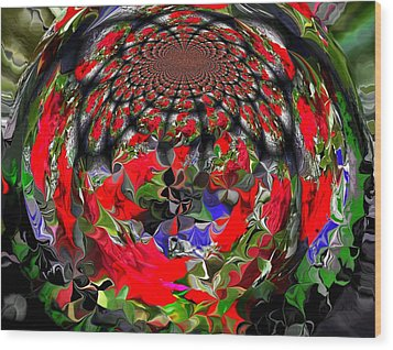 Spherical Bloom Wood Print by Jan Steadman-Jackson