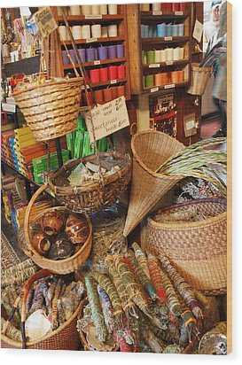 Spice Shop Wood Print by Jim Moore