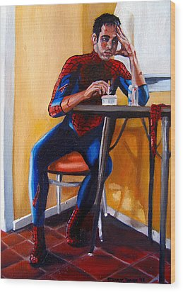 Spiderman After Work Wood Print by Emily Jones