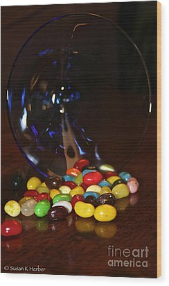 Spilled Beans Wood Print by Susan Herber