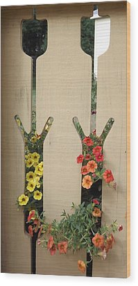 Wood Print featuring the photograph Spilling Through The Tulip Fence One by Judy Via-Wolff