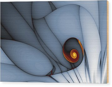 Spiral And Wobbly Lines Wood Print by Mark Eggleston