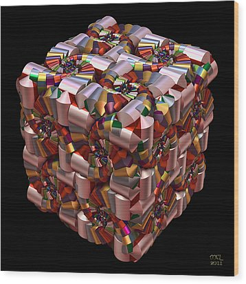 Wood Print featuring the digital art Spiral Box I by Manny Lorenzo