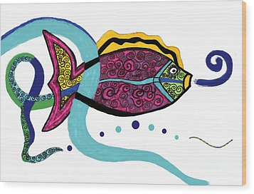 Spiral Fish Wood Print by Christine Perry