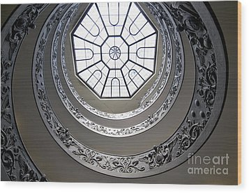 Spiral Staircase In The Vatican Museums Wood Print by Bernard Jaubert