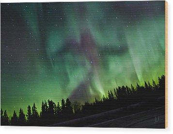 Spirits Of The Northern Nights Wood Print by Steve  Milner